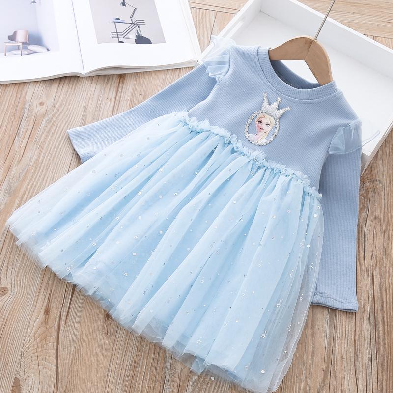 爱莎公主裙子冰雪奇缘秋冬装新款女童爱沙纱裙艾莎长袖加绒连衣裙
