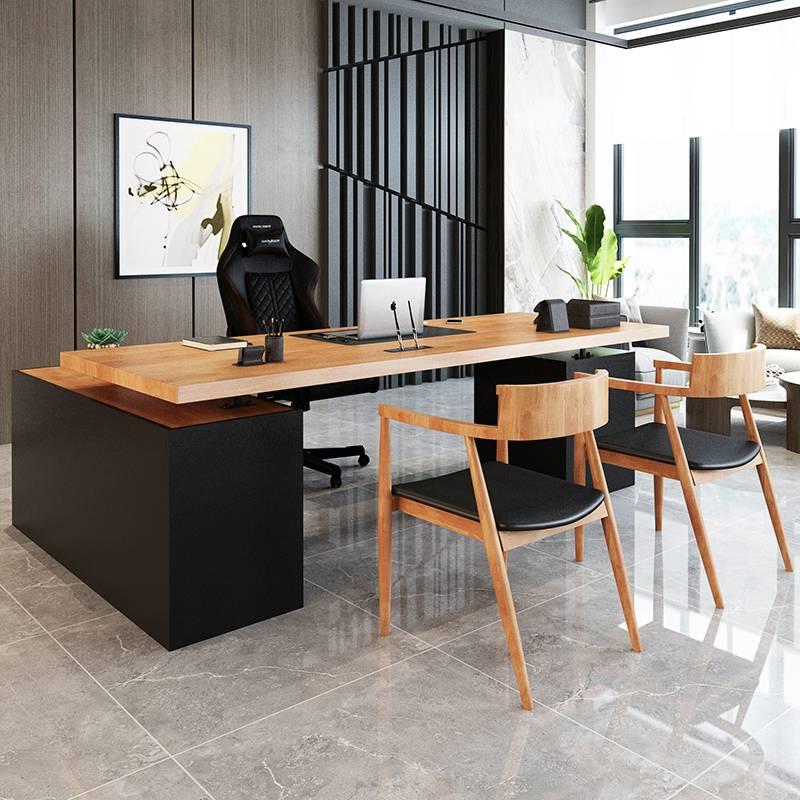 新商品LOFT実木マスターテーブルシンプルで現代オフィス家具総経理事務室工業風総経理