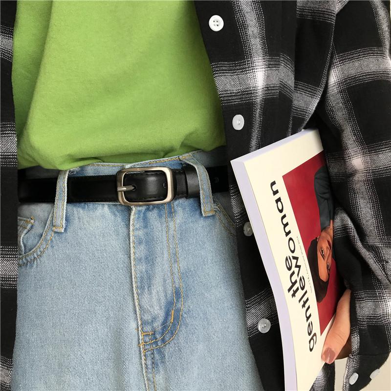 黑色皮带女简约百搭韩国ins潮复古学生时尚裤带ulzzang细腰带BF风图片