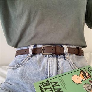黑扣简约BF风百搭PU腰带学生复古装饰韩风柔软小皮带女细款裤带窄
