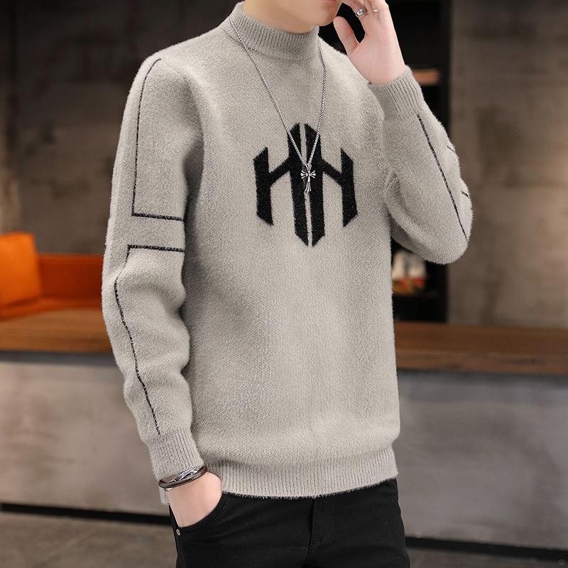 Mink fleece sweater men's half high neck bottoming shirt plus fleece thick section youth warm woolen sweater autumn and winter trend
