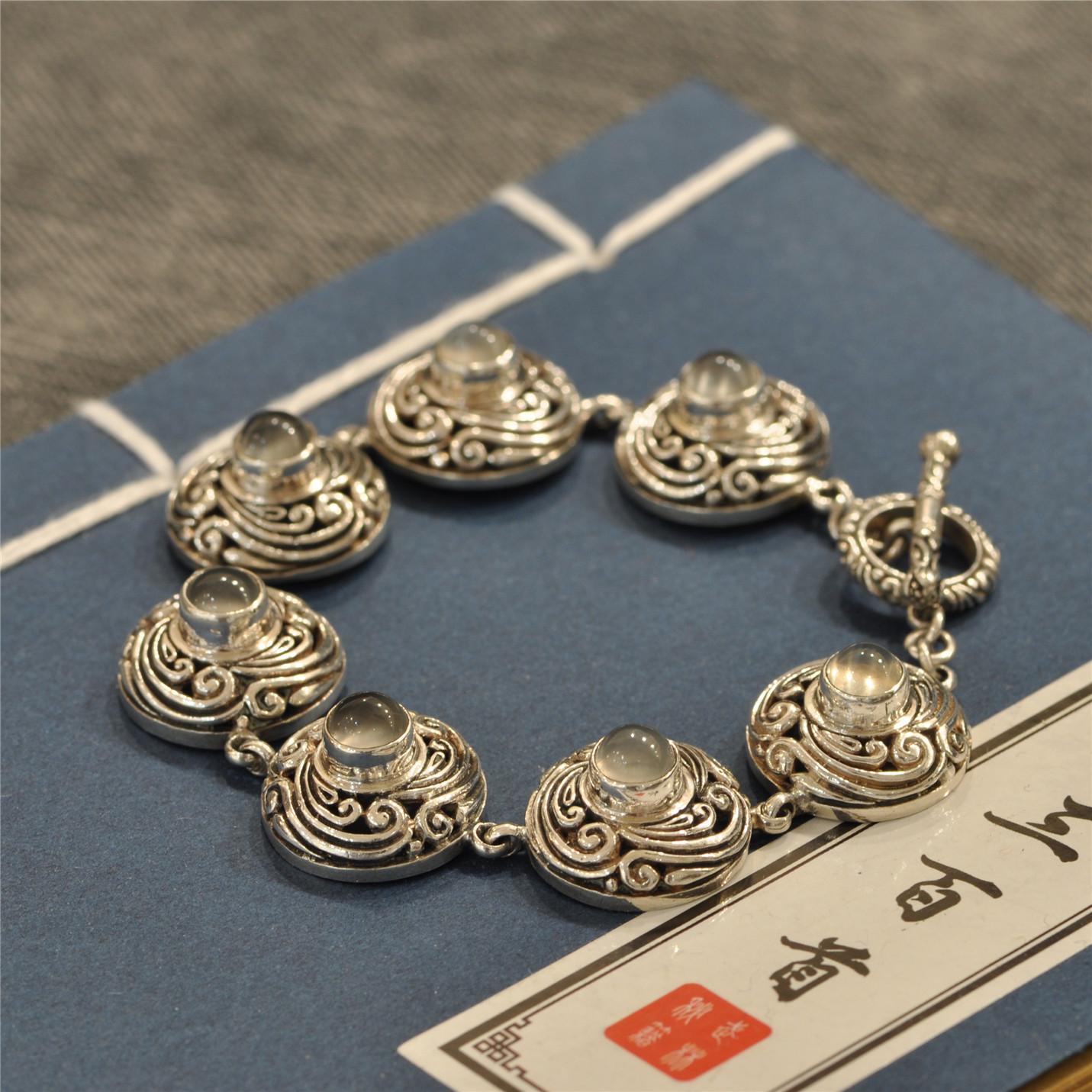 念善阁925纯银手链复古时尚文艺气质猫眼石老银匠纯手工泰银手饰