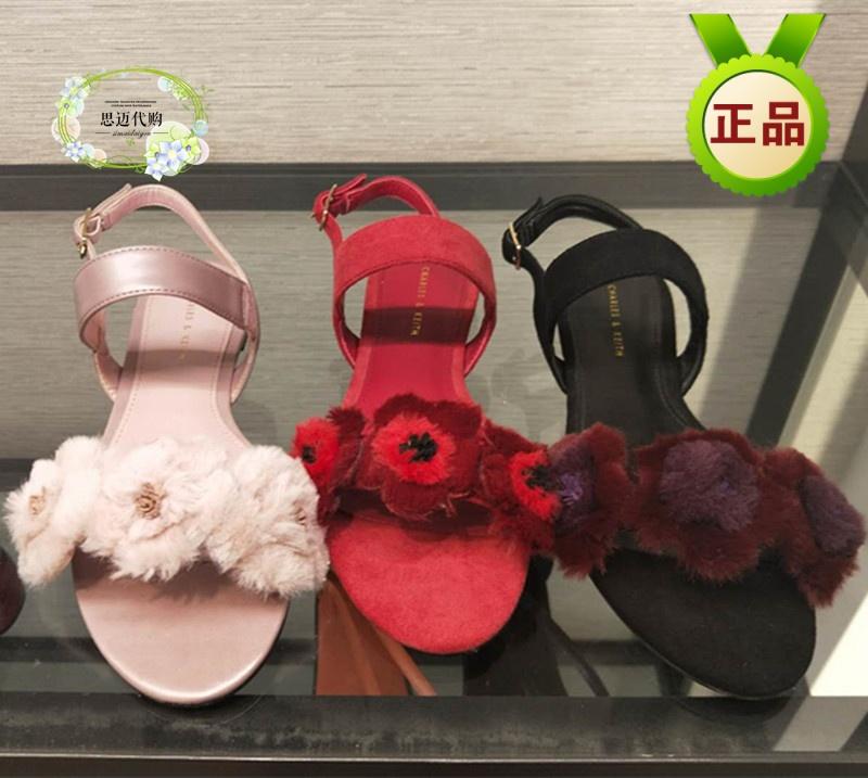 新加坡代购小CK1-70380674拼色毛绒花朵女士露趾一字带平底凉鞋