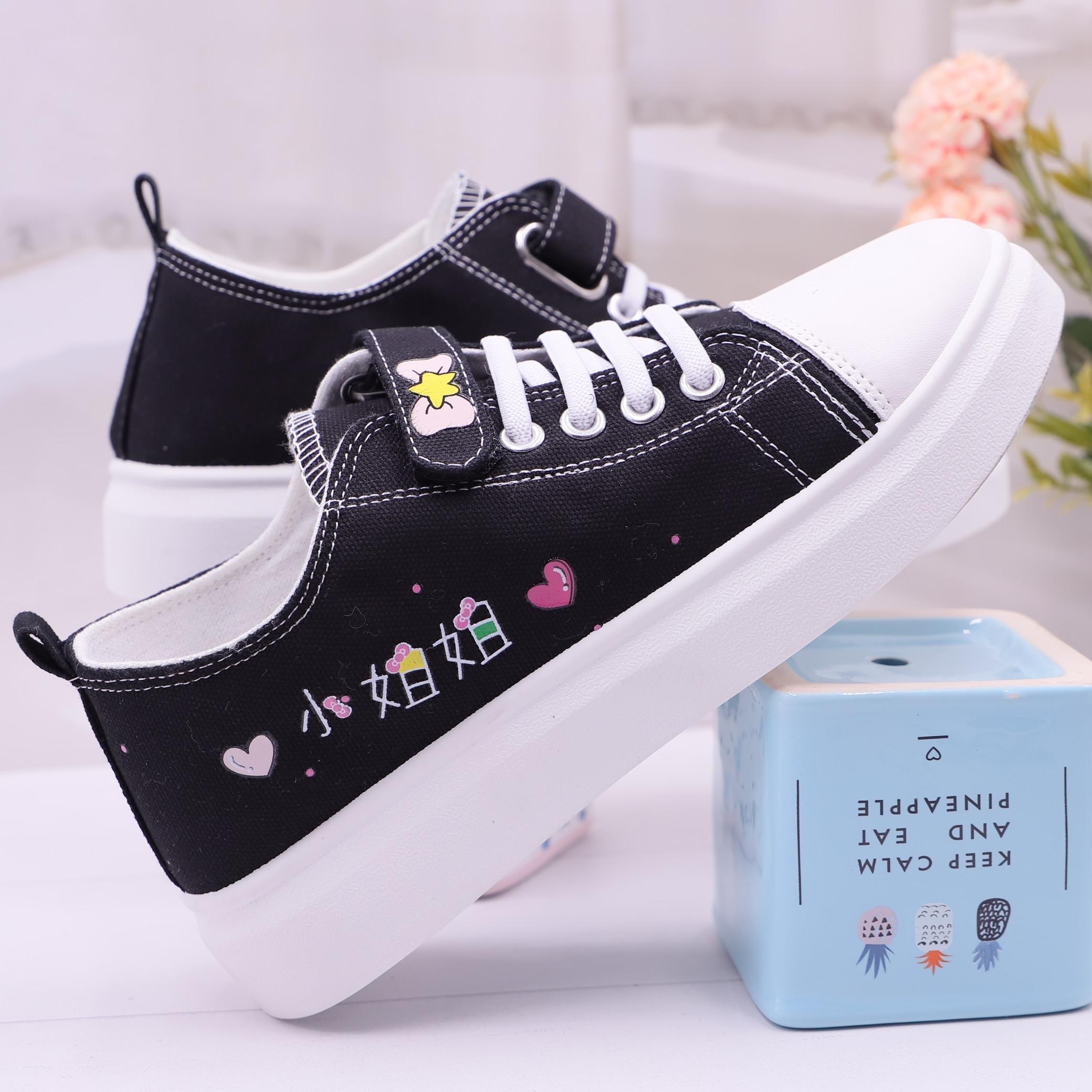夏季简约女孩子帆布鞋中大童板鞋跑步鞋初中生小学生平底休闲球鞋