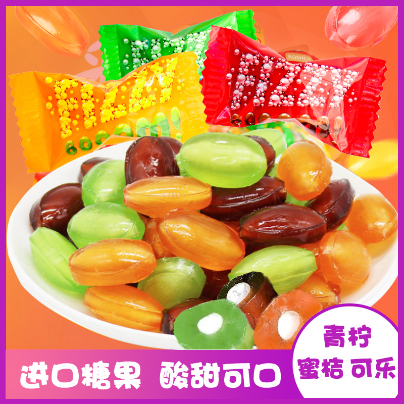 Imported snacks, candies, bubble sandwiches, sugar, cola, fruit, sugar, hard sugar, Russian sugar, bulk, happy candy, package and post, new years goods