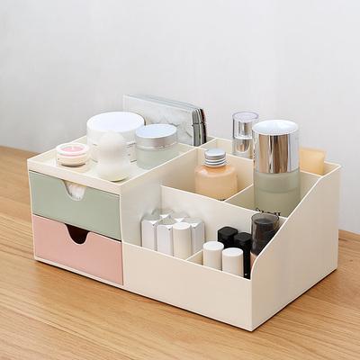 桌面化妆品收纳盒防尘口红置物架办公桌盒子家用塑料抽屉式整理盒