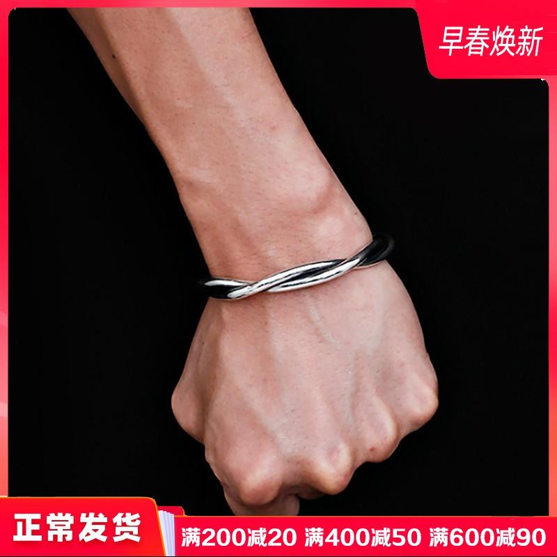 缠绵定制s999纯银情侣男士银手镯