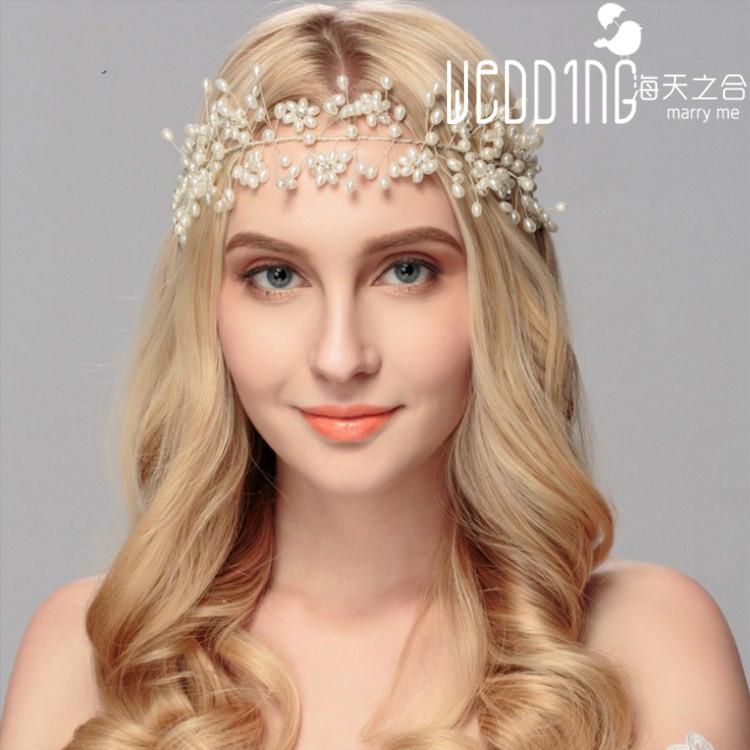 欧美风典雅新娘婚纱饰品春季热销发饰手工珍珠头带盘头发婚礼配饰