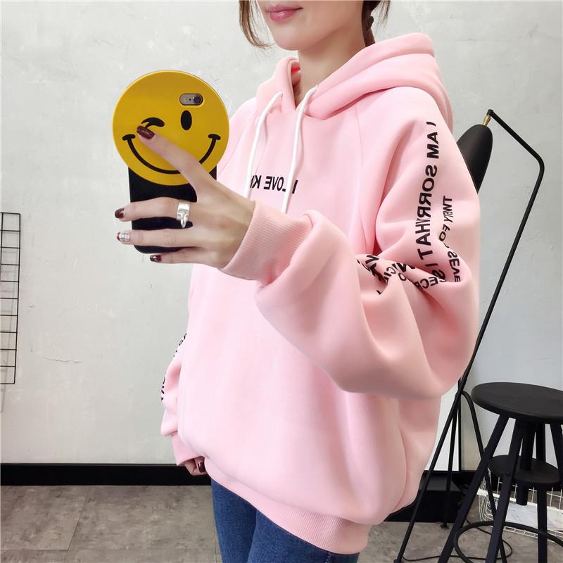 6328# 秋冬新款韩版加厚加绒长袖卫衣女 实拍
