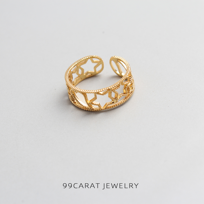Mail package 18K Gold package Korean version simple ring Star Love hollowed out gorgeous index finger wearable female student WC