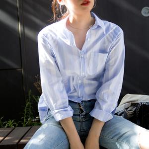 THECAKE自制 复古不规则蓝白竖条纹男朋友衬衫女bf风长袖宽松上衣