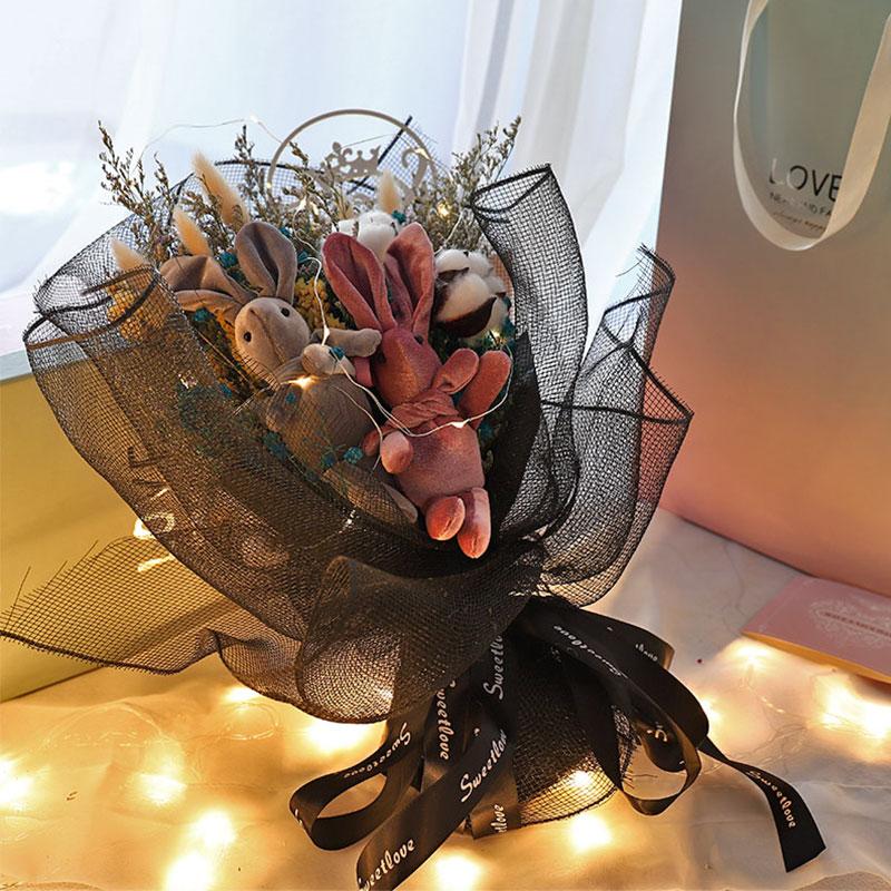 Сеть красный Желание дня учителя кролика, полного звезд хлопок Букет цветов в букете вечной розовой подарочной коробке с днем рождения