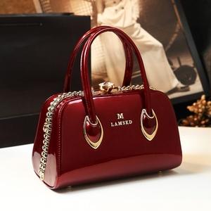 女士真皮时尚网红妈妈红高级手提包