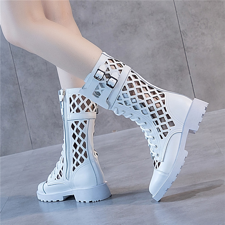 Hollow Martin boots black mesh short boots spring / summer 2020 new Mid Heel leather cool boots European and American sandals womens high top
