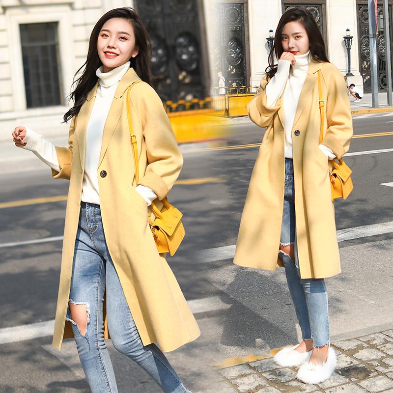 实拍现货 秋冬新款女装韩版毛呢大衣中长款呢外套#T6152限价135+