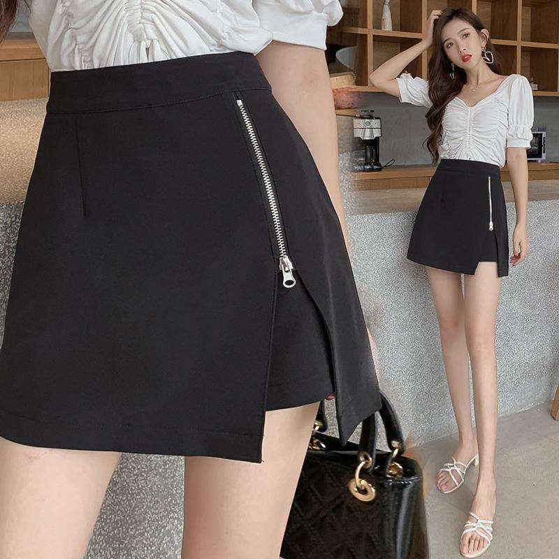 不规则高腰裤裙女夏2020新款侧拉链开叉黑色半身裙包臀a字短裙裤