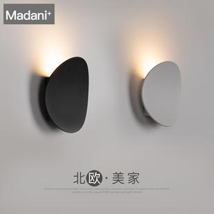 风ins简约圆形白色阳台玄关电视背景墙灯卧室壁灯装饰北欧LED壁灯