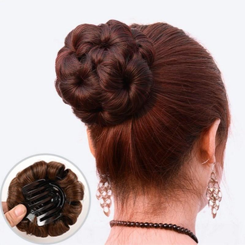 Korean wig headdress ball head curler clip doughnut flower bud hair ring nine flower hairpin hairdress girl