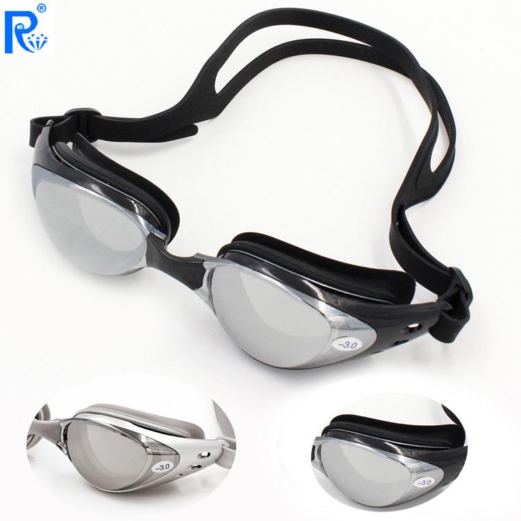 五折促销电镀防雾近视镀膜游泳镜多度数可选近视泳镜6100