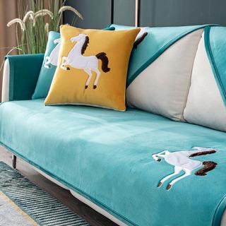 北欧沙发垫简约现代冬季毛绒防滑坐垫四季通用布艺全包沙发套罩巾
