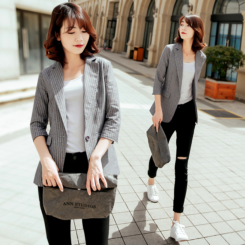 Spring and summer 2020 new linen Blazer Jacket Women thin Korean hemp material 7-sleeve cotton hemp leisure