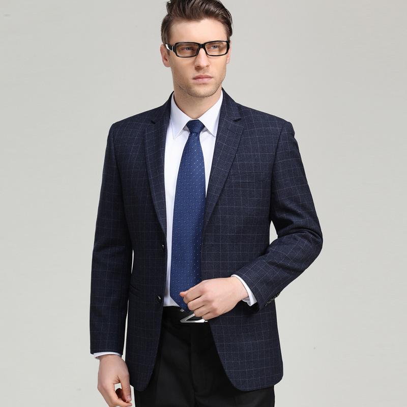 2020秋季新款羊毛西服男中年休闲修身西装上衣单排扣免烫小西装