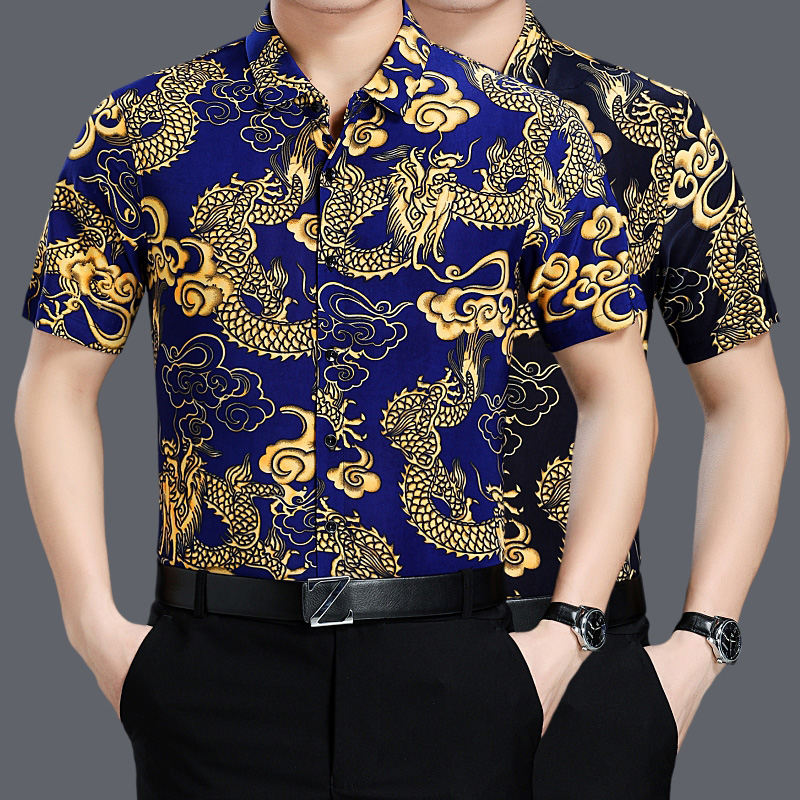 Summer new middle-aged mens short sleeve shirt printed with Chinese dragon pattern shirt dads loose half sleeve thin