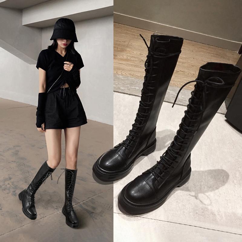长筒靴女2021新款百搭小个子长靴真皮粗跟靴子女爆款高筒骑士靴女