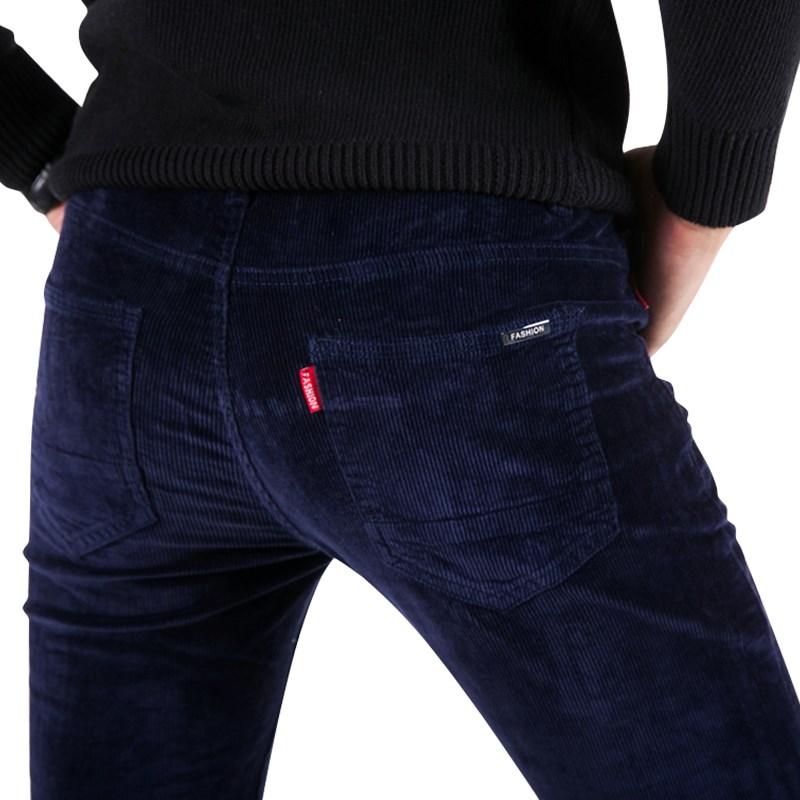 冬季灯芯绒男裤直筒修身弹力青年条绒裤商务百搭秋款男士休闲裤子