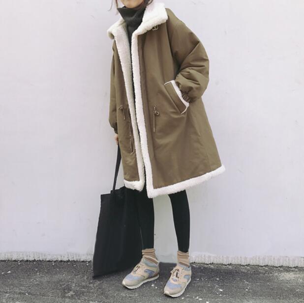 胖mm棉衣女中长款冬装羊羔毛外套宽松bf棉服韩版加厚加绒棉袄16