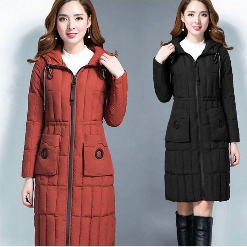 羽绒棉服女加长款大码过膝修身显瘦连帽棉衣女外套加厚大衣P2