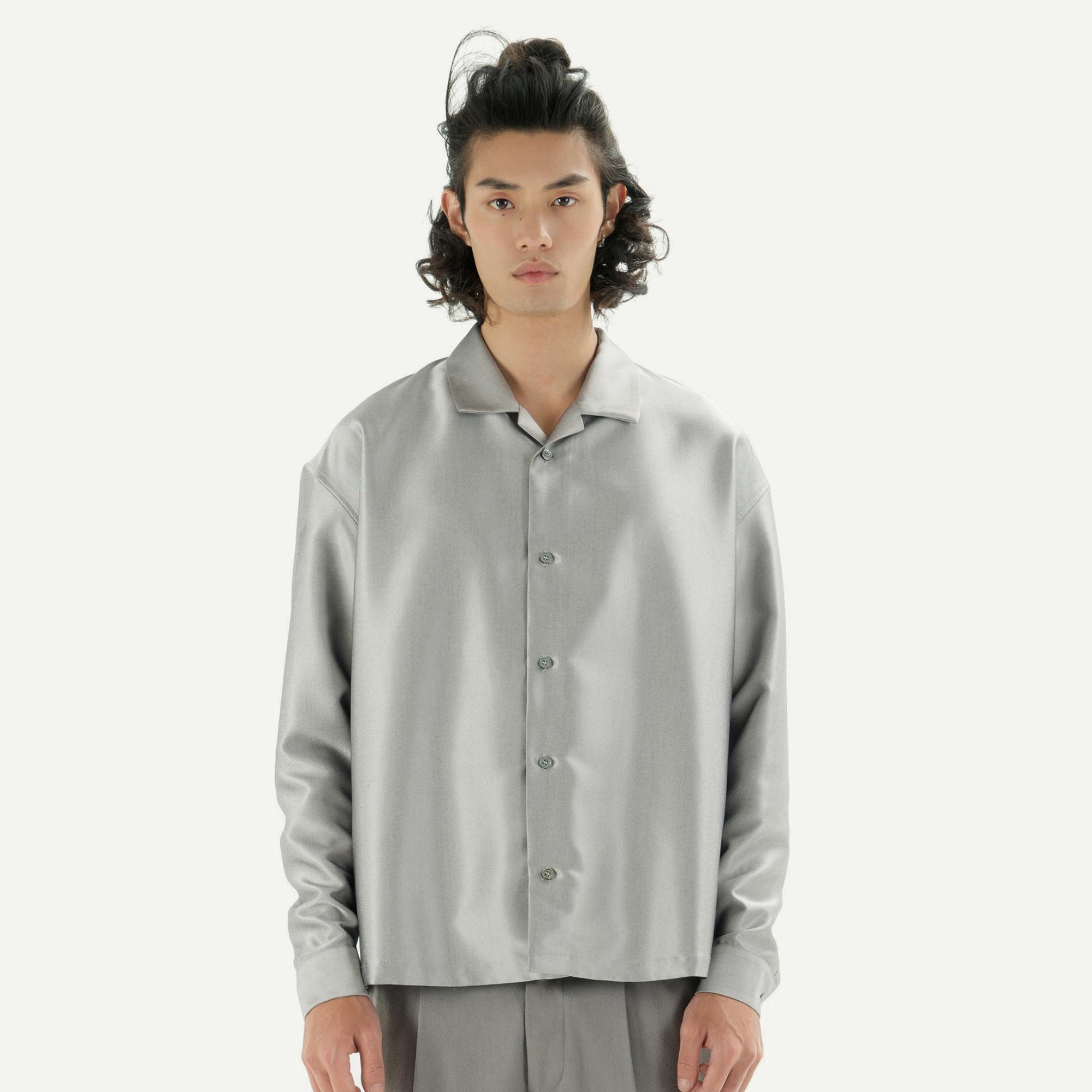 TENT STUDIO 18AW-M149 SHORT SHIRT 酒红/银色 高光感短款衬衫