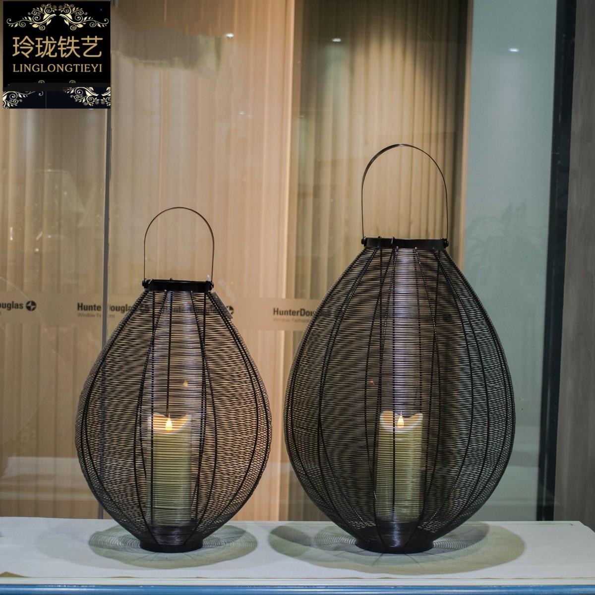 新中式现代户外烛台蜡烛风灯浪漫铁艺工艺品摆件酒店餐厅精品包邮