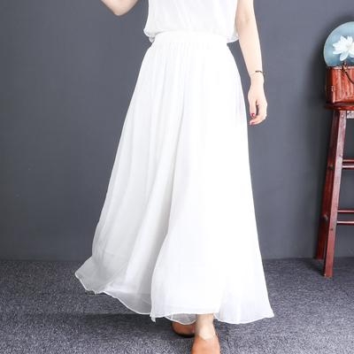 自然小铺双层薄2019夏季款雪纺裙裤
