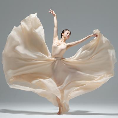 古典舞蹈服女飘逸720度大摆裙写真舞蹈半身裙现代舞蹈原创纱裙