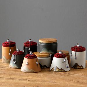 粗陶茶叶罐家用陶瓷茶罐小号普洱装茶叶盒便携迷你旅行陶罐密封罐