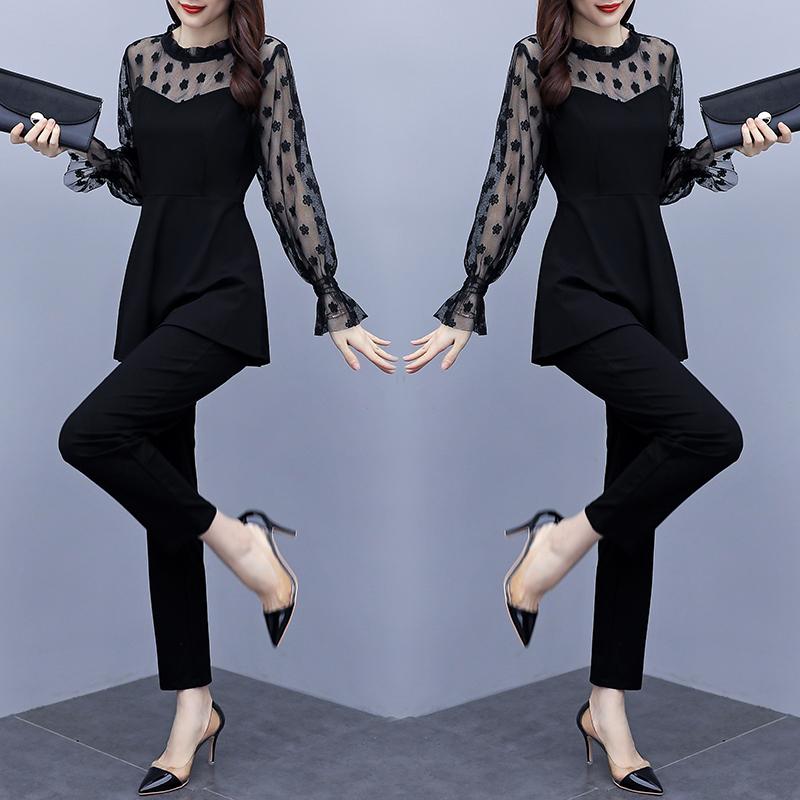 2020大码女装秋装轻柔拼接性感网纱时尚套装
