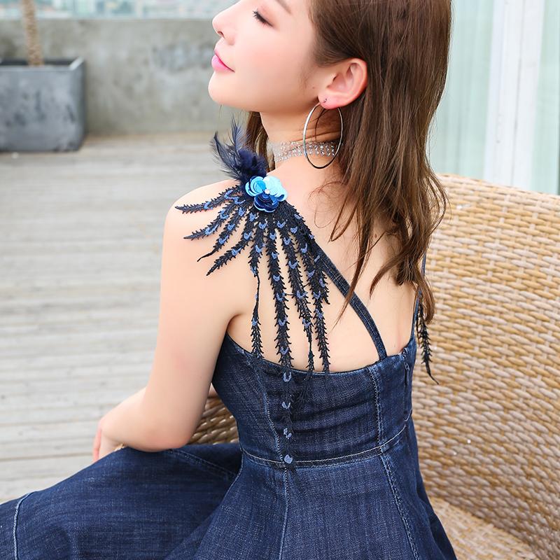 Ssy summer dress new European and American womens dress blue slim slim feather V-neck denim skirt suspender skirt dress 9008