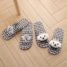 韩版布艺可爱情侣冬室内地板居家软底棉布拖鞋女夏家用防滑牛筋底