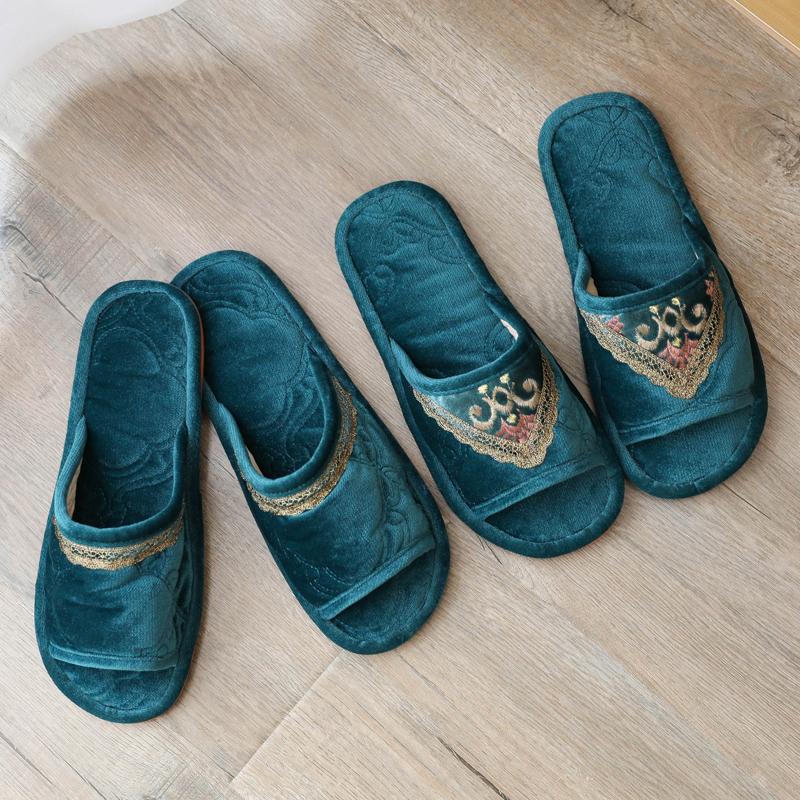 欧式家居拖鞋室内女夏季家用布艺卧室男木地板家具软底美容院无声