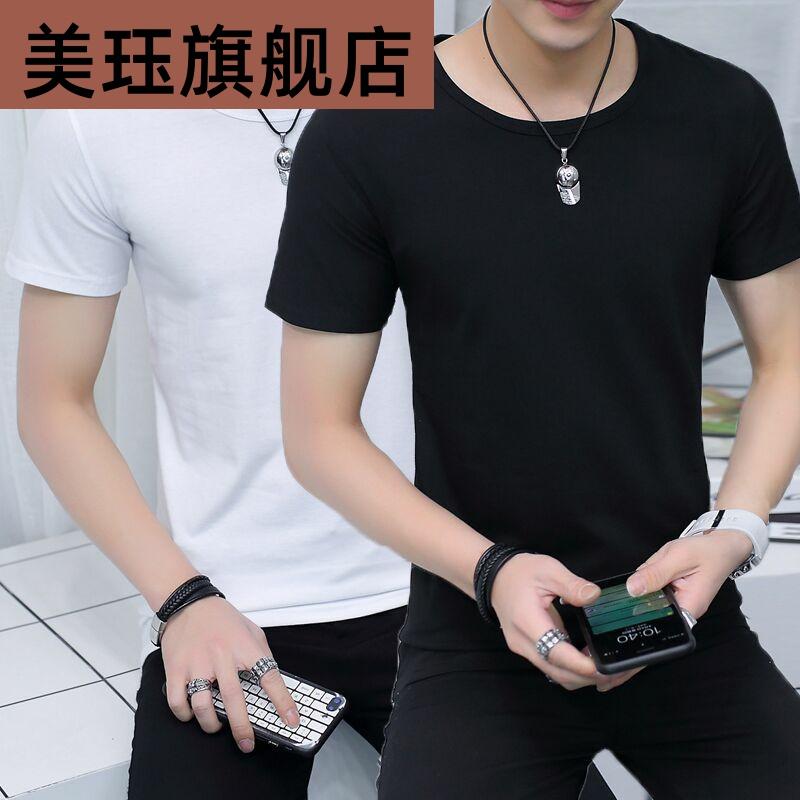 男士短袖t恤圆领短衫净版净面无图案全黑纯黑夏衣短轴上衣服