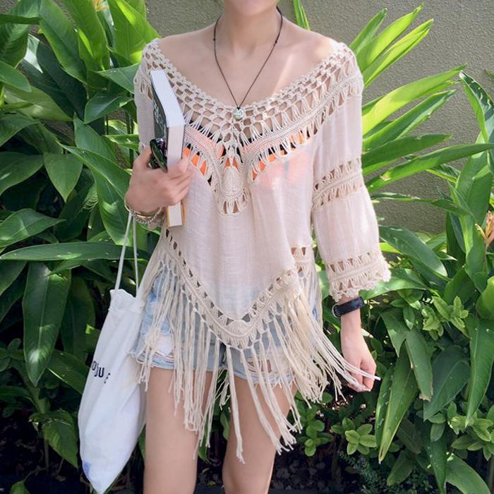 比基尼罩衫外搭大码流苏海边度假防晒衣女镂空泳衣外套针织衫长款