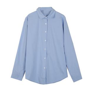 初秋天藍色襯衫女小清新少女感chic寬鬆淺藍長袖襯衣ins開衫外套