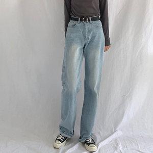 170高个子女生长裤港风复古水洗蓝色泫雅高腰阔腿裤垂感拖地裤潮