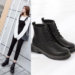 马丁靴女英伦风2017女靴秋冬新款单靴加绒短靴切尔西靴子和9...