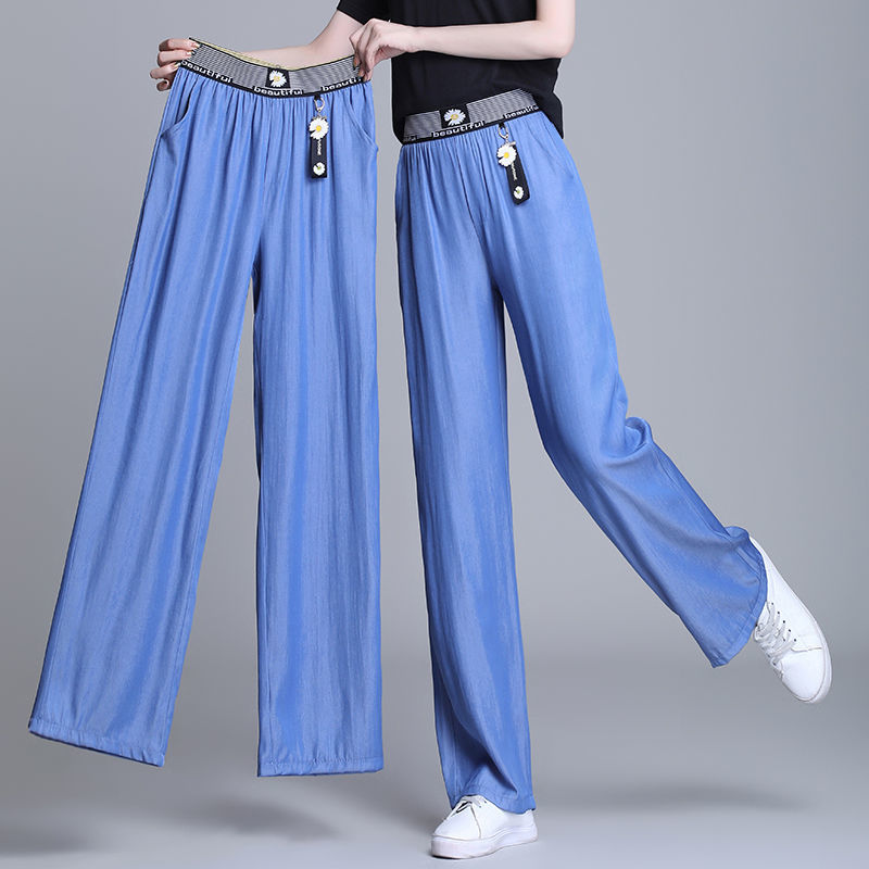 Middle aged and old mothers pants autumn and winter aged Plush womens pants loose show thin high elastic high waist pants middle aged straight pants womens pants