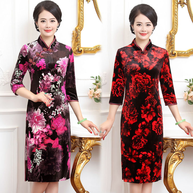 Velvet cheongsam spring and summer wedding dress mothers dress long sleeve fashion improved middle and long-term womens dress
