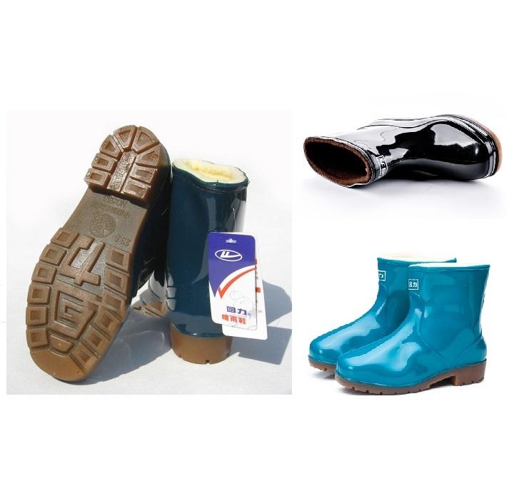 回力秋冬男女款低短筒雨鞋牛筋底水鞋防水防滑套脚加绒棉雨靴553