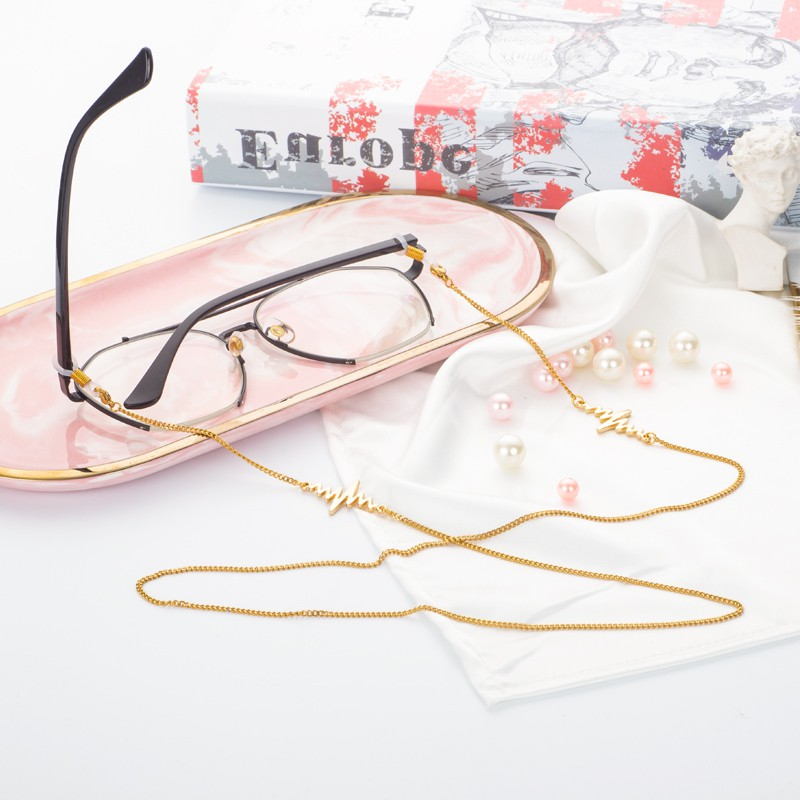 New vintage fashion personalized glasses accessories Lolita outdoor sports lightning simple glasses chain metal chain