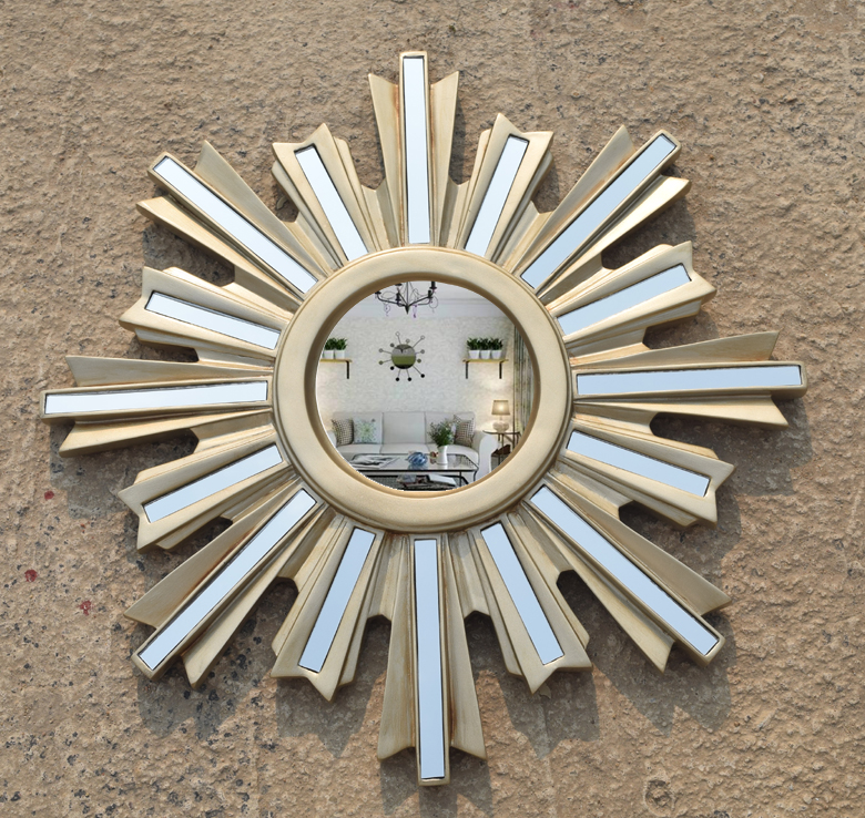 New European style American porch decorative mirror Club KTV bar wall mounted with patch sun shaped mirror